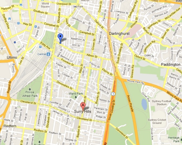 Map of Surry Hills NSW 2010